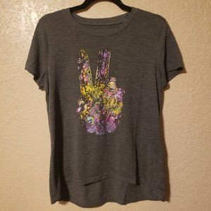 Modern LUX Hippie Peace Sign Graphic Tee SZ